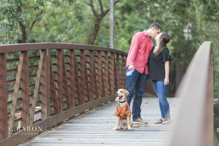 C. Baron Photography; Dog; Engagement; Hook 'em; Houston Engagement Photographer; Nature; Park; Spanish Moss; UT; University of Texas;